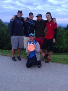 Avery Jenkins (Weltmeister 2009), Werner Mooshammer (Anders Golfen), Greg Marter (Discmania Deutschland), Simon Lizotte (Europameister 2012), Charlie Buchberger (KUMM Disc Golf, vorne kniend)